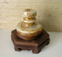 VINTAGE LARGE CHINESE JADE SEAL STAMP - Cachets