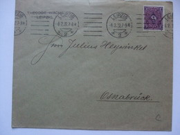 GERMANY - 1922 Cover 2 Dm Inland Rate Leipzig To Osnabruck - Storia Postale