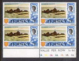 GB JERSEY - 1969 DEFINITIVE 3d STAMP SG 18 THICKER PAPER BLOCK OF 4 WITH PLATE NUMBER COLOUR CONTROLS FINE MNH ** - Jersey