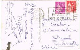 O.MEC FLIER NICE EXPOSITION PHILATELIQUE 1935 SUR CPA POUR LA BELGIQUE - Postmark Collection (Covers)