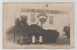 """1 Carte Photo à Identifier ?? """" Café Hotel Restaurant De La Gare Vve Grillet """" - A Identifier"""