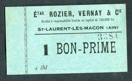 """Monnaie De Nécessité Carton """"1 Bon-Prime - Ets Rozier, Vernay & Cie - St Laurent-les-Macon (Ain)"""" Emergency Banknote - Bons & Nécessité"""