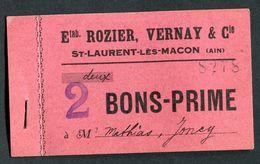 """Monnaie De Nécessité Carton """"2 Bons-Prime - Ets Rozier, Vernay & Cie - St Laurent-les-Macon (Ain)"""" Emergency Banknote - Bons & Nécessité"""