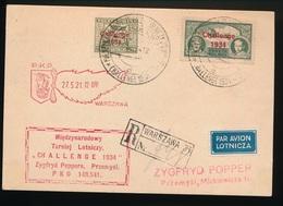 RECOMMANDE 1934 WARSZAWA PAR AVION LOTNICZA - 1919-1939 Republic