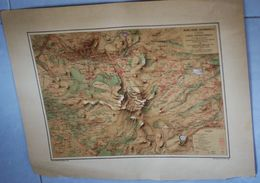 Grande Carte Topographique (56cm X 45cm) Mont Dore-Bourboule Dessinée Par Coudert Editeur Barot-Duchier Gravé Par Erhard - Cartes Géographiques
