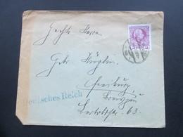 Österreich Ca. 1908 Nr. 141 EF In Das Deutsche Reich (Blauer Stempel) Vignette Verein Deutsches Haus In Wien - 1850-1918 Imperium