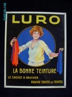 """PUBLICITE *** Plaque Métal Rigide  TEINTURE :."""" LURO""""  ** Signée  RIBET - Parfait état  Années 20 - /  30 Cm X 25 Femme - Advertising (Porcelain) Signs"""