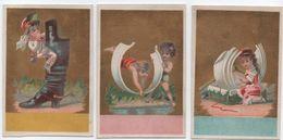 Lot De 3 Chromos  à Fonds Dorés/Habillement/ Faux-cols Et Bottines Avec Petits Personnages/Vers 1880  IMA307 - Trade Cards