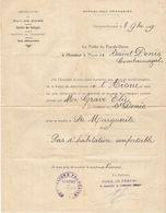 PRÉFECTURE DU PUY DE DOME 9 SEPTEMBRE 1919 SAINT DENIS COMBARNAZAT SERVICE DES RÉFUGIÉS AVIS DÉFAVORABLE - Vieux Papiers