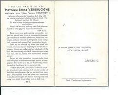 B.P. BEVEREN ROES. VERBRUGGHE EMMA 1892 - 1956 LICHTERVELDE - Religion & Esotericism