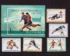 Korea-D.P.R.-1975,(Mi.1387-1401,Bl.17),Football, Soccer, Fussball,calcio,Used - Soccer