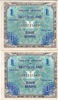 ALLEMAGNE BILLET DE 1 MARK SÉRIE 1944 LOT DE 2 BILLETS NUMÉRO DE SÉRIE A SUIVRE - 1 Mark