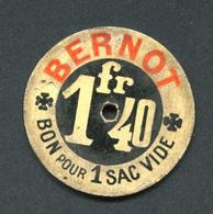 Rare Jeton De Nécessité - Bernot Frères Charbonnier - Bon Pour Un Sac Vide 1fr40 - Charbon - Rue Lafayette - Paris - Monetary / Of Necessity