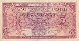BELGIQUE BILLET DE 5 FRANCS / 1 BELGA 1943 ALPHABET / S - [ 2] 1831-... : Regno Del Belgio