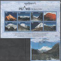 BHUTAN, 2017, MNH, MOUNTAINS, PEAKS OF BHUTAN, SHEETLET+ S/SHEET - Geology