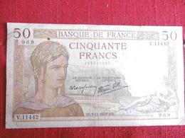 BILLET 50 FRANCS CERES-9.11.1939-N°969/V.11442-petit Trou Au Dessus De La Tete - 1871-1952 Circulated During XXth