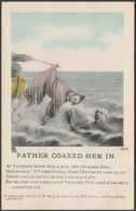 Song Card - Father Coaxed Her In, 1909 - Shamrock & Co Postcard - Humour