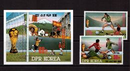 Korea-D.P.R.-1985,(Mi.2709-2710,Bl.210), Football, Soccer, Fussball,calcio,MNH - World Cup