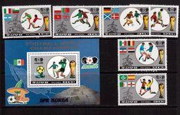 Korea-D.P.R.-1986,(Mi.2728-2733,Bl.213), Football, Soccer, Fussball,calcio,MNH - World Cup