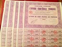 Cie  LYONNAISE  De  L' AFRIQUE  ÉQUATORIALE  FRANÇAISE -------  Cinq  Actions  De  100 Frs - Afrique