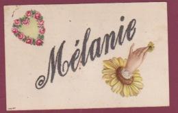 180218A - FANTAISIE PRENOM MATIERE PAILLETTE - MELANIE - Marguerite Coeur De Rose Main - Firstnames