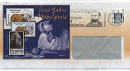Germany EINSTEIN NOBEL PRIZE ILLUSTRATED COVER HERMANN E.SIEGER NOBELPREIS AUF BRIEFMARKEN 2001 - Nobel Prize Laureates