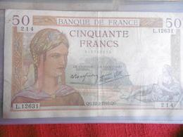 BILLET 50 FRANCS CERES-22.2.1940-N°214/L.12631- - 1871-1952 Circulated During XXth