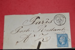 LETTRE AVEC  TIMBRE NA III 25C N°15.PARIS POSTE RESTANTE ; CAD COURBEVOIE 24 JUIL 60; CAD PARIS 60 - 1853-1860 Napoleon III