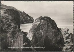Western Cliffs & Droskyn Point, Perranporth, Cornwall, 1959 - Harvey Barton RP Postcard - England
