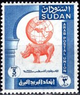 1958 Arab Postal Congress, Khartoum - Globe On Rhinoceros (Badge Of Su Dan) -3p - Orange And Blue MNH - Sudan (1954-...)