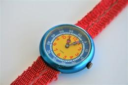 Watches : FLIKFLAK - FFA16 Blue Case - Red Strap Watch - Working Condition - Running - Excelent Conditon - Watches: Modern
