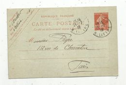 Sur Carte Postale , ENTIER POSTAL, 10c , 1916 , PARIS 43 ,  R. LITTRE - Entiers Postaux