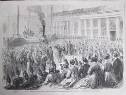 Gravure 1867 Reception à La Gare Du Nord Paris    Empereur Napoléon  III - Old Paper