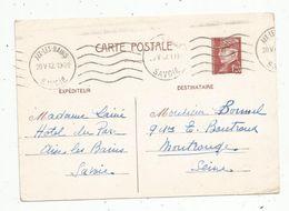Sur Carte Postale ,1942,  ENTIER POSTAL, 1f20 , AIX LES BAINS - Postal Stamped Stationery