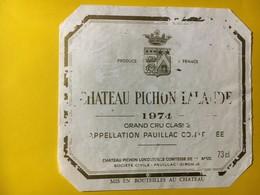 6963 - Château Pichon Lalande  1974 Pauillac état Moyen - Bordeaux