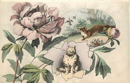 - Themes -ref-A285- Animaux - Renards - Renard - Foxes - Fox - Carte Fantaisie Renard Et Oiseaux - Chien - Roses - - Autres