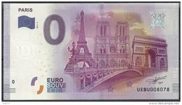 Billet Touristique 0 Euro  2016 - PARIS 3 Monuments Tour Eiffel, Notre Dame, Arc De Triomphe - EURO