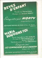 Partitions Editions ROOSEVELT De 1967 Rêves D'enfant Par MONTY - Partitions Musicales Anciennes