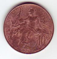 (Monnaies). France 10 C 1904 & 5 C 1920 & 10 C 1873 A Ceres - France