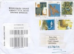 "GOOD GREECE "" REGISTERED "" Postal Cover To ESTONIA 2011 - Good Stamped: Art - Greece"