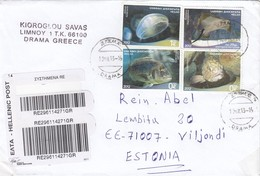 """GOOD GREECE """" REGISTERED """" Postal Cover To ESTONIA 2013 - Good Stamped: Sealife ; Fishes - Greece"""