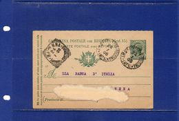 ##(DAN182)-24-1-1908-- Annullo Ambulante  Pontebba-Bologna Su Cart Post.con R.P. Cent.5 Mill.07 Per Ravenna - 1900-44 Vittorio Emanuele III