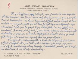 Carte Autographiée De Bernard Plongeron,  Adressée Au Colonel REMY - Autographes