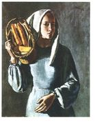 Pro Infirmis Janebé Areuse/Nch. Mädchen Mit Maiskolben - Femme Au Maïs - Ragazza Con Granoturco (10 X 15 Cm) - Peintures & Tableaux