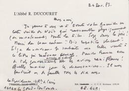 Carte Autographiée De Roger Ducouret, Adressée Au Colonel REMY - Autographes