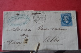 LETTRE AVEC TIMBRE NIII 20C BLEU N°22; CAD MONTROUGE 30SEPT 64 PARIS .LOSGE GR CHIFFRES 2523.CAD ALB 4 OCT 64 - 1862 Napoleon III