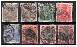 GERMANY 1899 Germania Reichspost 8 Values Used - Germany
