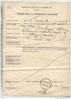 Option Pour La Nationalité Française Traités Du 10 Mai Et Du 11 Décembre 1871 - Documents Historiques