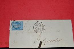 LETTRE AVEC TIMBRE NIII 20C BLEU N°22; CAD PARIS MONTROUGE  PARIS 18 MAI 66.LOSGE GR CHIFFRES 2523.+ VOIR DESCRIPTION - 1862 Napoleon III