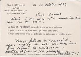 Carte Autographiée Du Révérend Père Jean Reynaud, Adressée Au Colonel REMY - Autographes